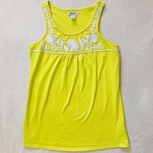 Old Navy Women's Embroidered Yellow Tank Top